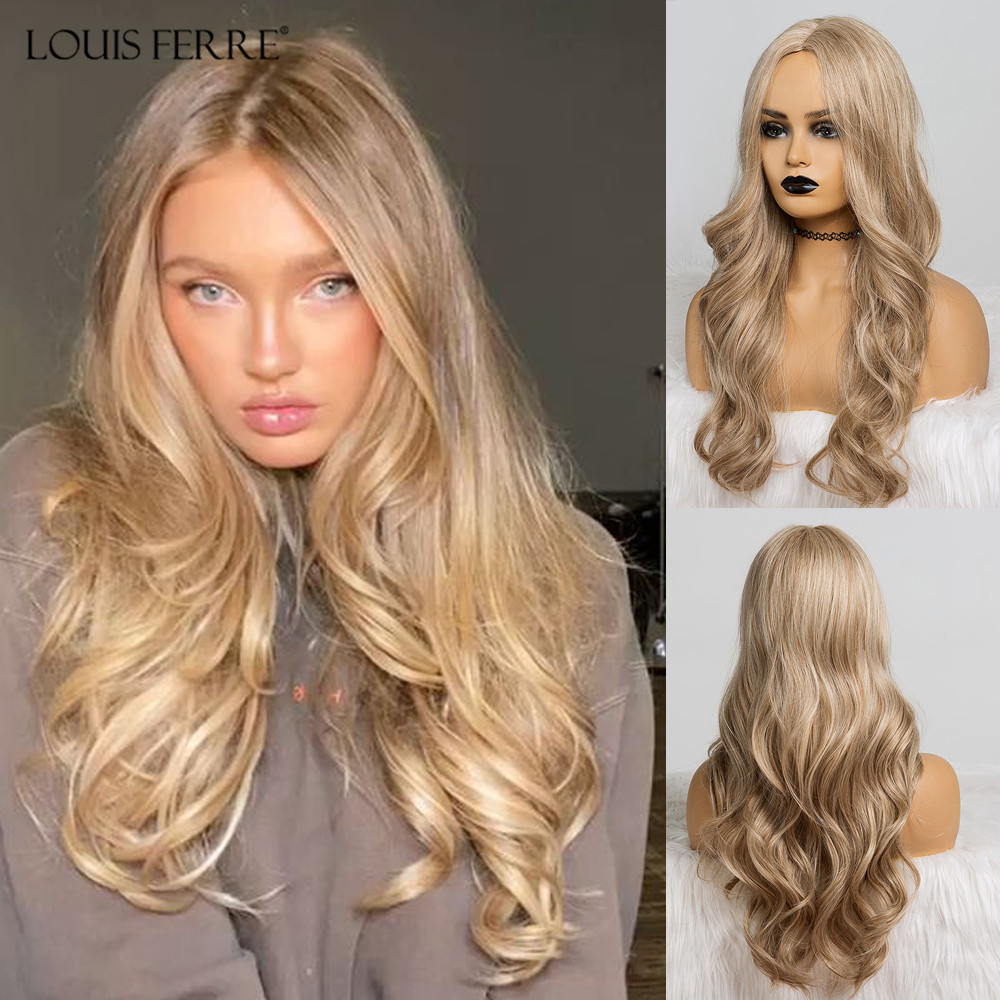 LOUIS FERRE Long Wavy Synthetic Wigs Brown  Blonde Wig For Black Women Natural Middle Part Cosplay Party Wigs Heat Resistant
