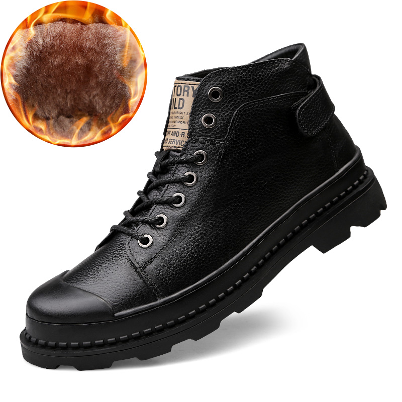 Super Warm Men's Winter Genuine Leather Men Waterproof Rubber Snow Boots Leisure Boots England Retro Shoes For Men Big Size