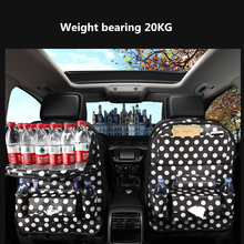 Leather Car Seat Storage Bag back folding organizer bag car accessories interior Organizer With Dining Table