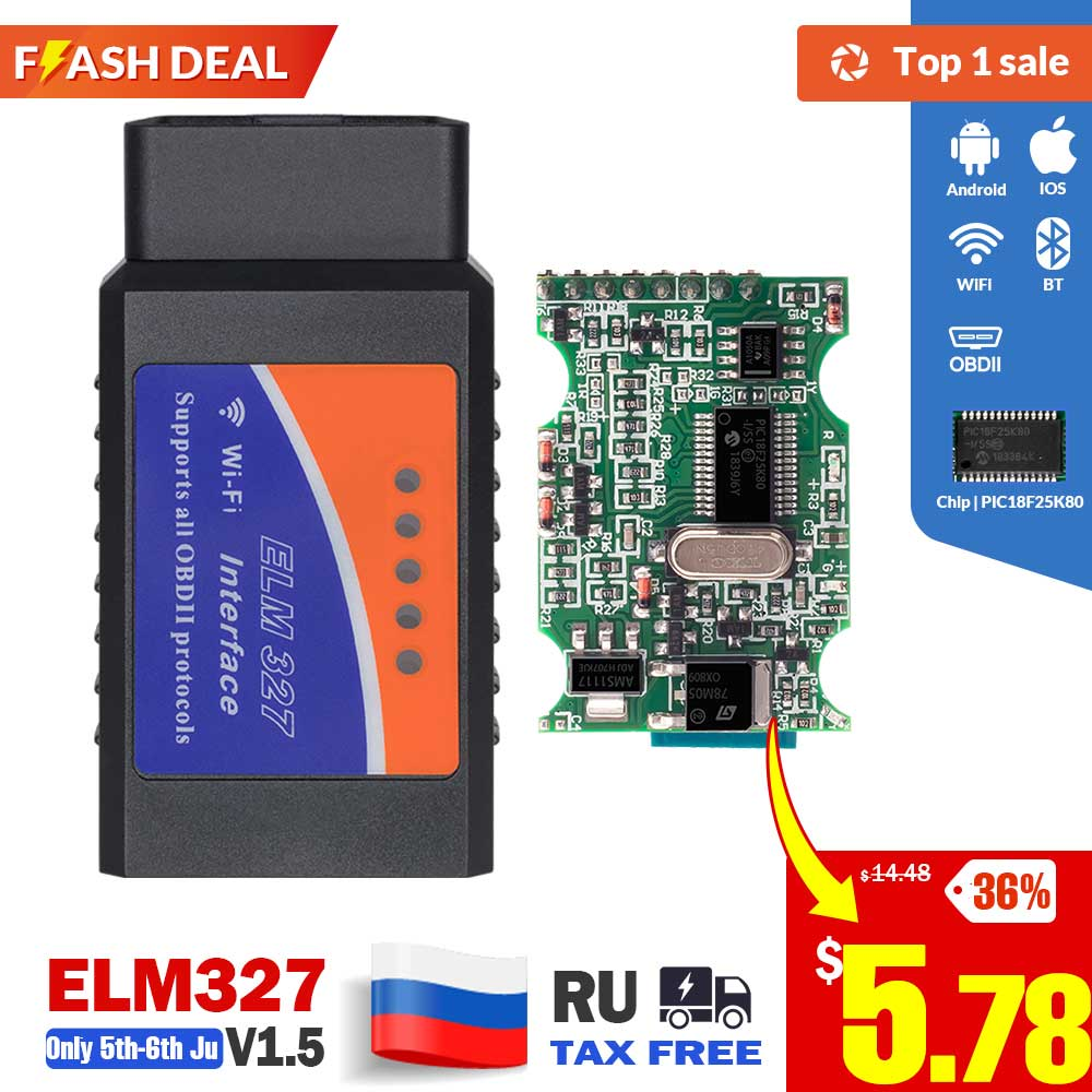 Auto-Diagnostic-Tool Obd2 Scanner PIC18F25K80 Elm 327 V1.5 Bluetooth OBDII Ios/windows