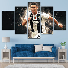 Famous Posters Cristiano Ronaldo 5 Pieces Wall Canvas Paintings Football Sports Art Kids Room Home Decor