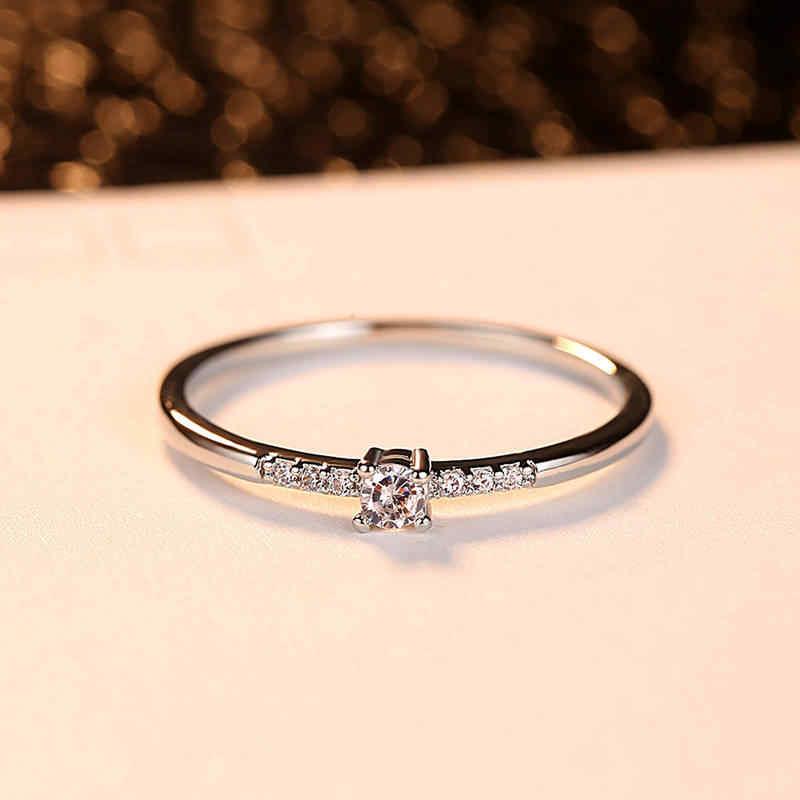 แฟชั่นผู้หญิงแหวน Platinum Rose Gold แหวนประณีต Zircon แหวนที่มีสีสันตกแต่งหมั้นผู้หญิงเครื่องประดับ