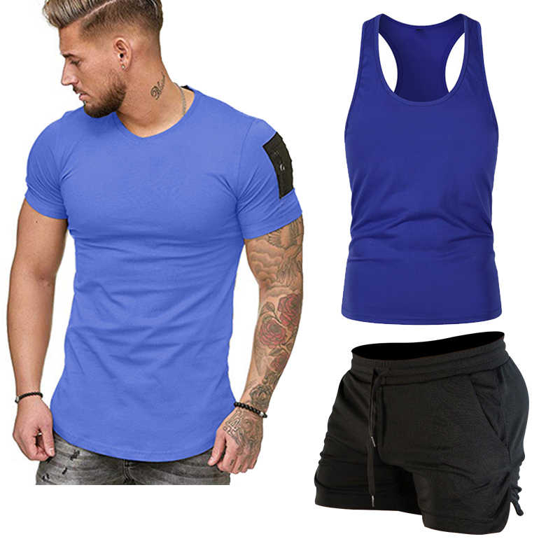 Erkek 3 parça spor T-shirt yelek yüzmek mayo takım elbise yaz erkekler yüksek kalite rahat erkek yüzmek mayo yaz plaj pantolonları