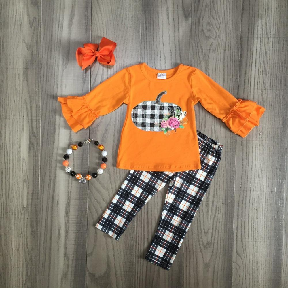 Fall/winter Halloween Thanksgiving Baby Girls Pants Children Clothes Boutique Plaid Orange Pumpkin Outfits Set Match Accessories