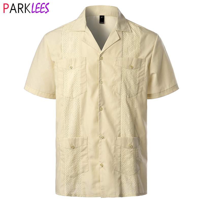 Shirt Mexican Cuban Embroidered Camp-Collar 4-Pocket Short-Sleeve Caribbean-Style Traditional