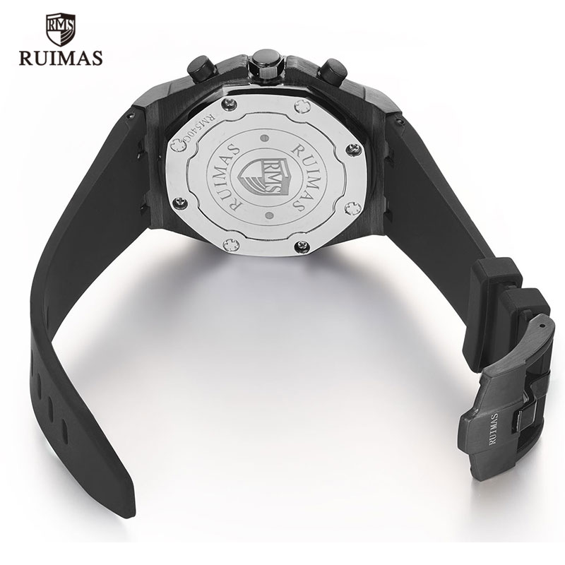 Image 5 - RUIMAS Chronograph Men Sport Watch Fashion Silicone Army Military Watches Relogio Masculino Quartz Wrist Watch Clock Men-in Quartz Watches from Watches