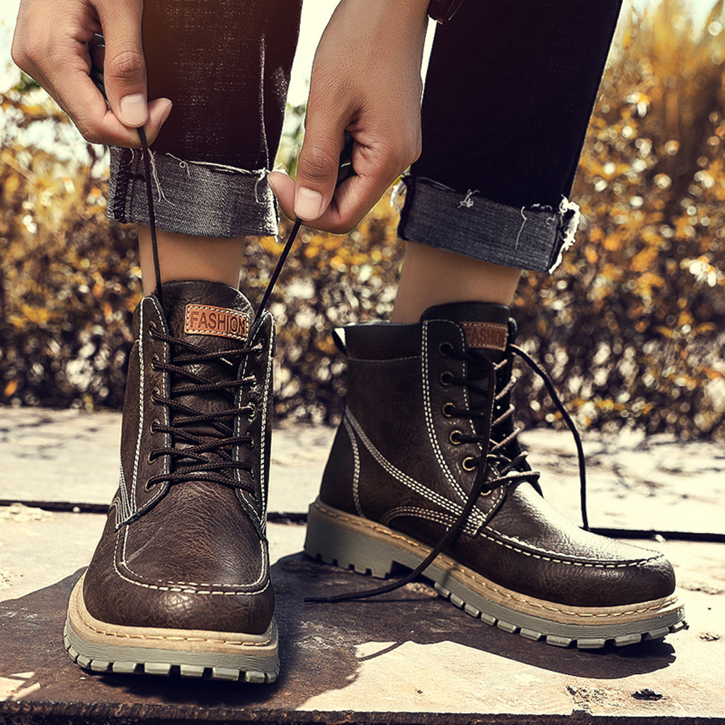 Winter Boots Men's British Style Leather Boots Non-Slip Wear-Resistant High-Cut Tooling Boots 30 Free Shipping