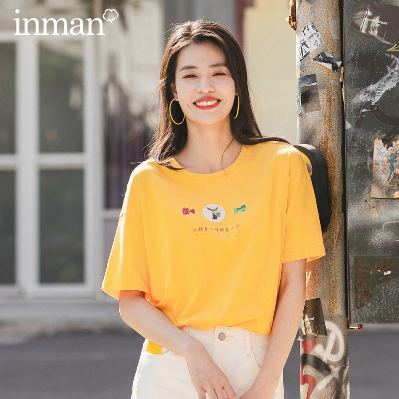 INMAN 2020 Summer New Arrival Pure Cotton Cute Chinese Printed All-match T-shirt