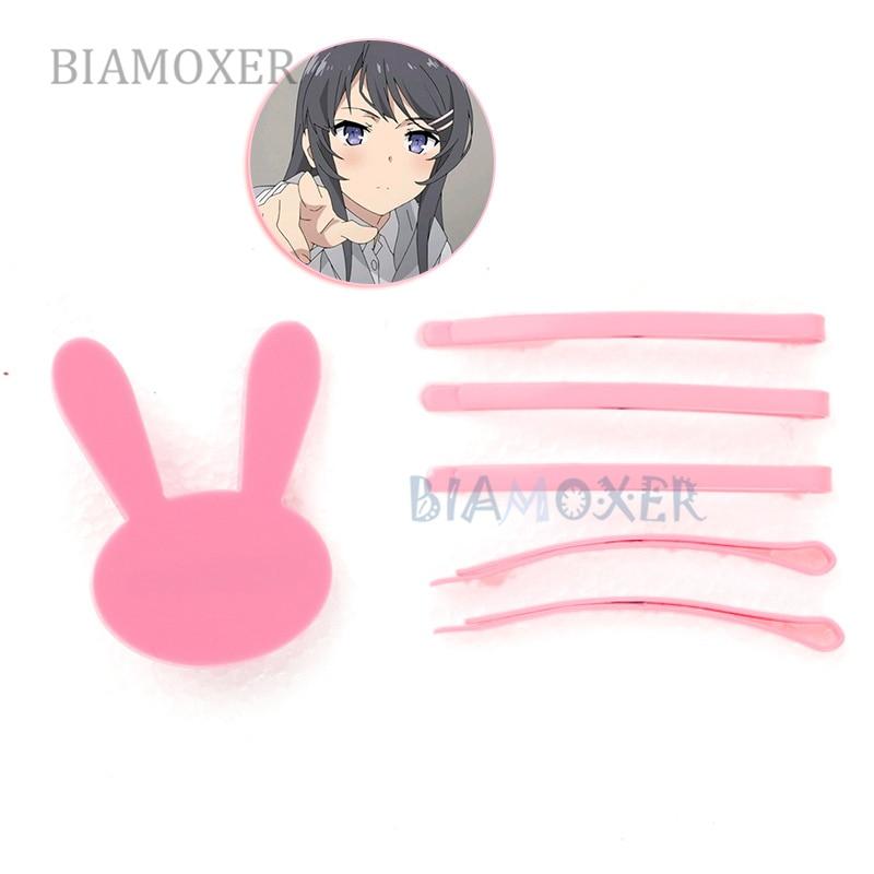 Sakurajima mai clipe de cabelo anime seishun buta yarou série kawaii lolita meninas coelho cosplay acessórios hairpin rosa headwear