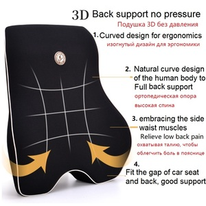 Image 2 - Car Cushion Seat Lumbar Support Office Chair Low Back Pain Pillow Memory Foam Black Posture Correction Car Product Dropshipping