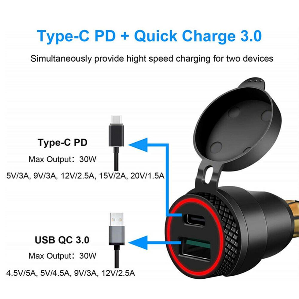 cheapest Aluminum Alloy Metal Shell Motorcycle Type C USB Charger 12-24v Voltmeter for BMW Motorcycle Hella Din Socket Red Blue