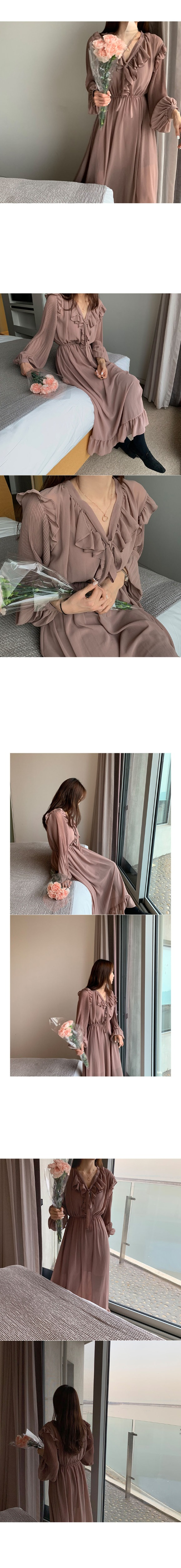 H6dd53a4bf37a4d149f6157accaa50d7c8 - Autumn O-Neck Long Sleeves Chiffon Ruffles Maxi Dress