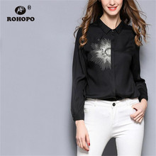 ROHOPO Discover Thread Embroidery Vintage Black White Blouse Low Hight Length Long Sleeve Soft Elelgant Ladies Tops Blusa #653