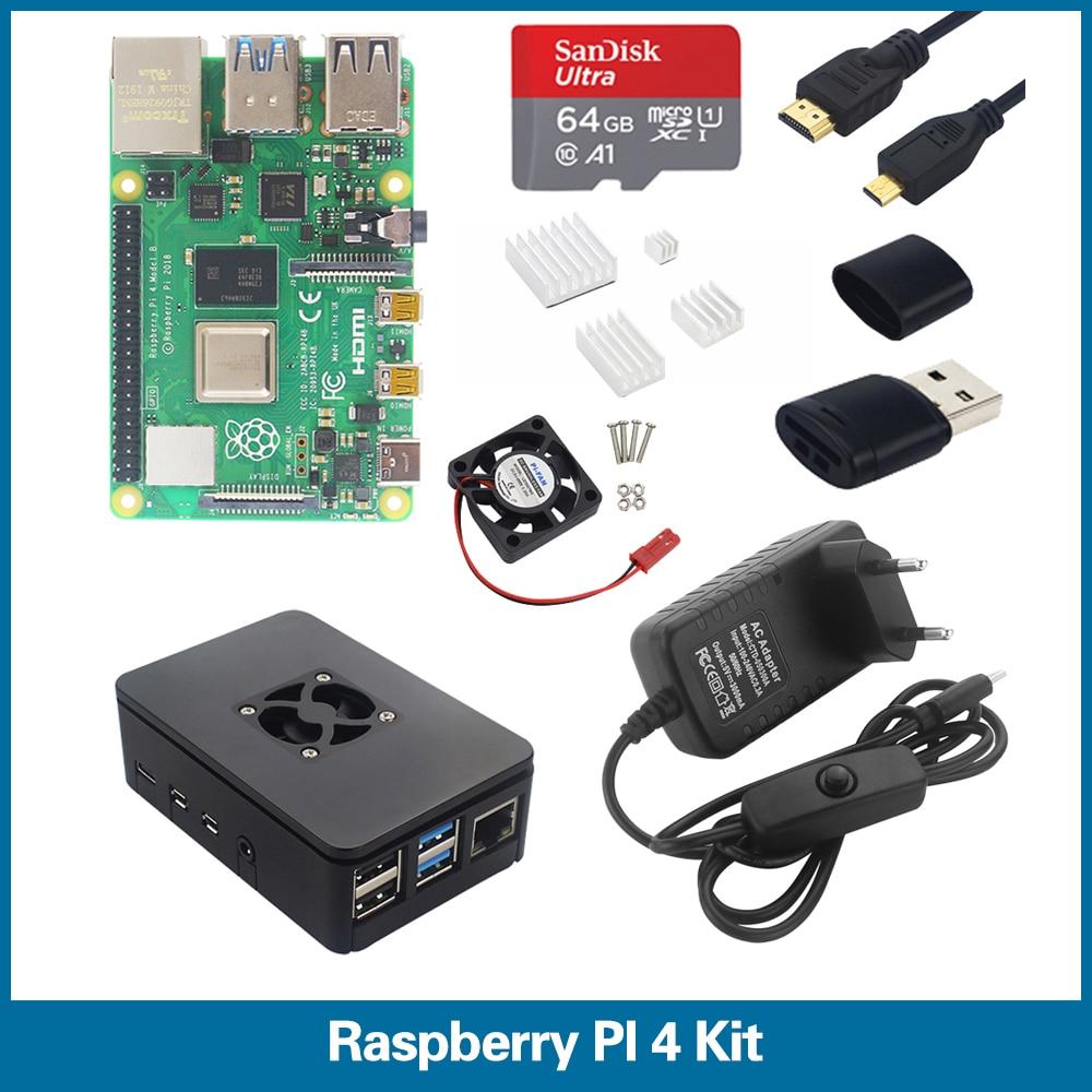S ROBOT Raspberry Pi 4 Model B Kit 1G/2G/4G RAM + Case + Heatsink + 64 SD Card + Micro HDMI + Power Plug For RPi 4 RPI6