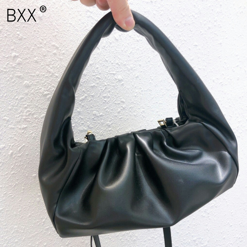 [BXX] Solid Color PU Leather Shoulder  Bags For Women 2020 Fashion Winter Handbags Female Designer Quality Luxury HI652