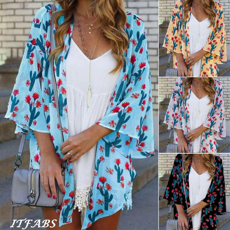 2020 HOT Newest Elegant Women Vintage Floral Loose Shawl Kimono Cardigan Boho Chiffon Tops Jacket Blouse Wraps