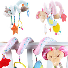 Baby Stroller Toys Cute Animals Mobile Bed Crib Car Hanging Stroller Spiral Plush Appease Doll Teether Developmental Rattles Toy(China)