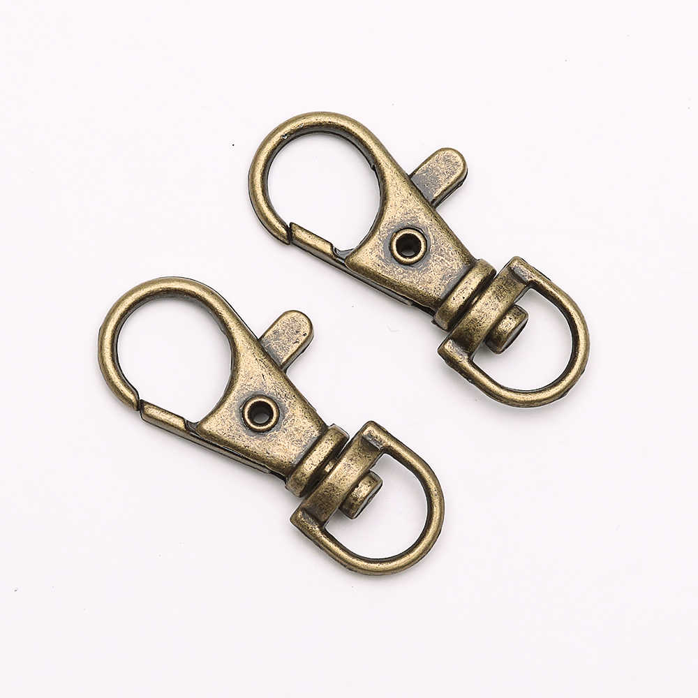 10 sztuk złota dzielony breloczek obrotowy karabińczyk złącze do saszetka do paska łańcuchy dla psów DIY komponenty do wyrobu biżuterii hurtowych