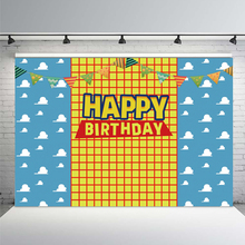 Happy Birthday Toy Backdrop Boys Story Girls Kids Woody Cartoon Banner Birthday Party Photography Background for Children Table