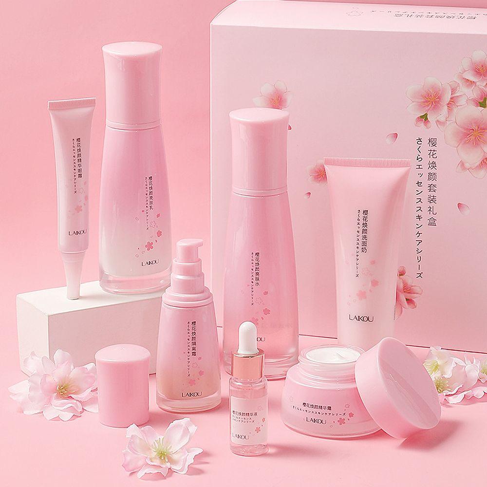 LAIKOU Cherry blossoms 7PCS Face Skin Care Product Set Repairing Anti-aging Anti-wrinkle Moisturizing Whitening Face Tonic Cream