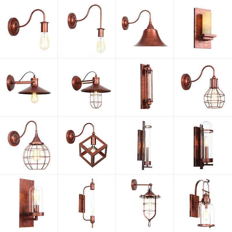 Ac 110v-240v Indoor Outdoor Vintage Wall Lamp E27 Led Bulb Metal Body Retro Light Foyer Copper Loft Bed Wall Sconce Steam Punk