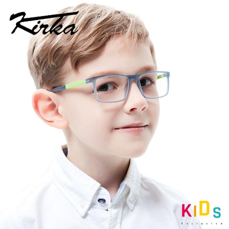 Image 2 - Kirka Kids Glasses TR90 Flexible Eyeglass Frames Children Optical Frame Kids Grey Children Glasses For 6 10 Years OldMens Eyewear Frames   -