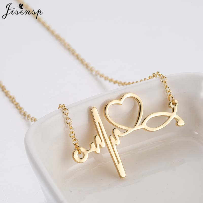Jisensp Fashion Stethoscope Heartbeat Necklace Necklacs Women Jewelry Stainless Steel ECG Wave Heart Necklace Pendants collier