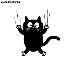 Langru 14.4CM*14.6CM Vinyl Decal Funny Cat Pet Animal Car Stickers Accessories Jdm(China)