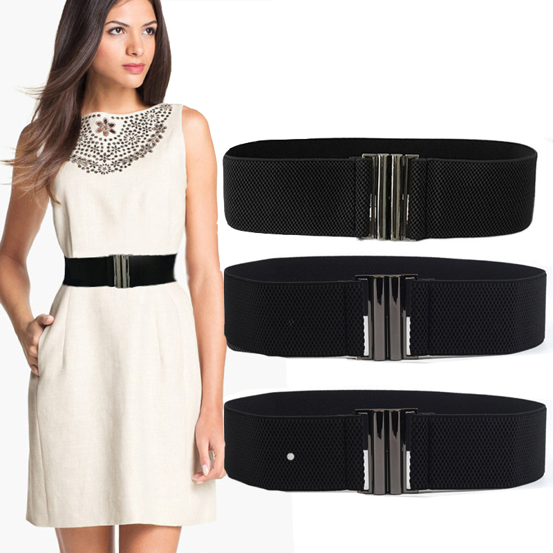 New Elastic Band Wide Belts Simple Down Coat Waist Belt Female Buckle Black Strap Dress Decoration Accessories