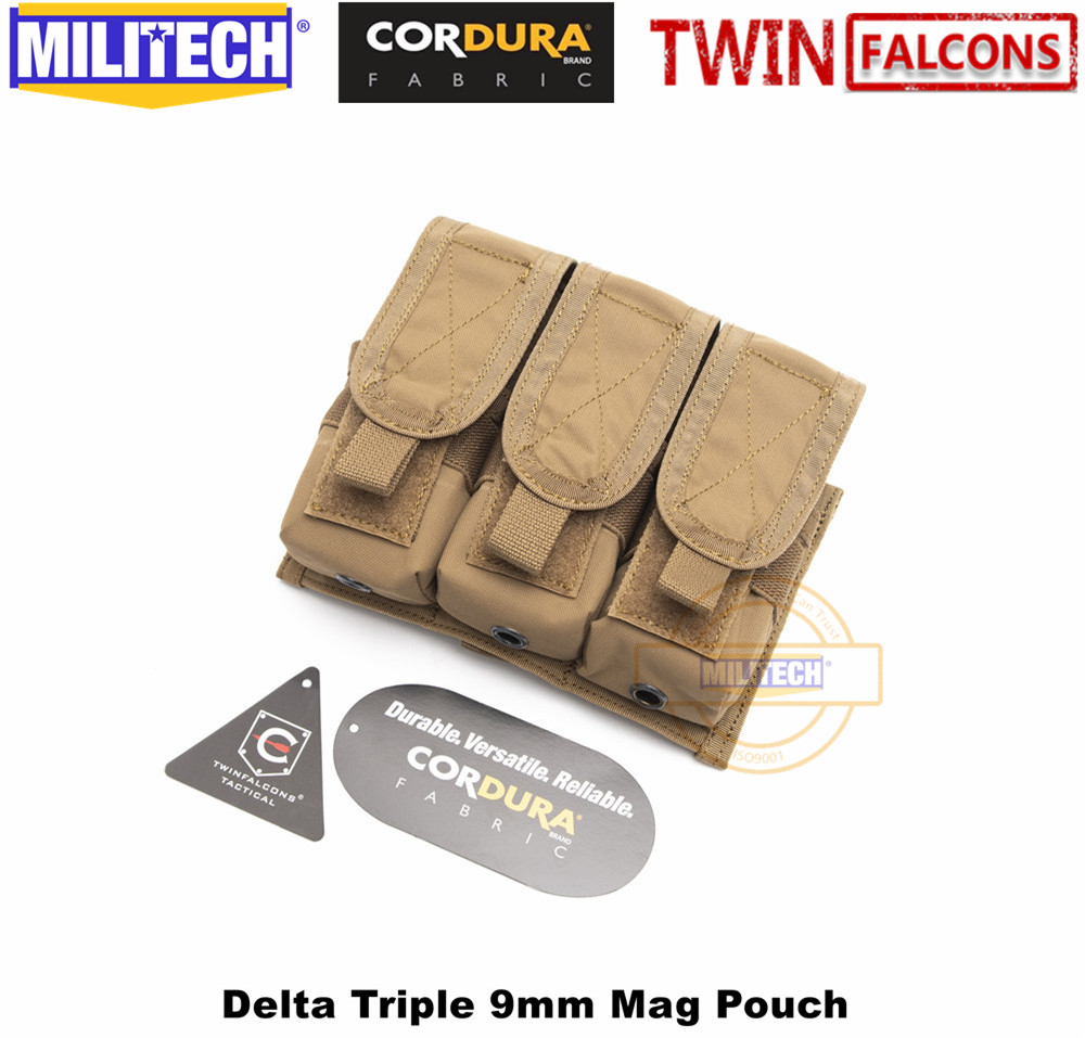 MILITECH TWINFALCONS TW 500D Delustered Cordura Molle Crye CP Delta Triple 9mm Mag Molle Pouch Magazine Glock Pouch For Police
