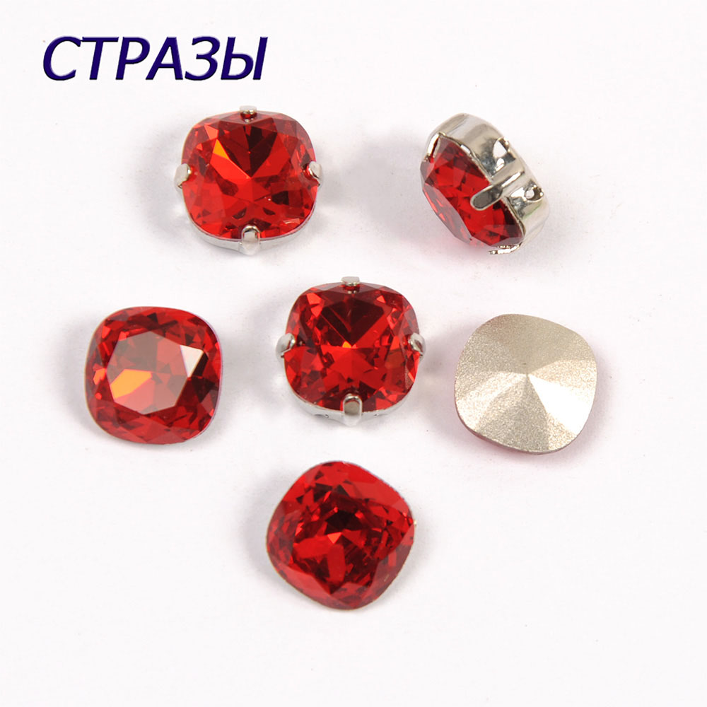 CTPA3bI 4470 Light Siam Cushion Cut Shape Color Fancy Beads Stone Pointback Glass Crystals Jewelry Bead Decorating And Making