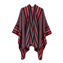 cross-border hot style imitation cashmere scarf open fork fashion border stripe ms increase air conditioning cape