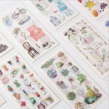 6pcs/lot High Quality Ink Watercolor Simple Creative Decoration DIY Sticker Diary Stationery Album Flakes Scrapbooking