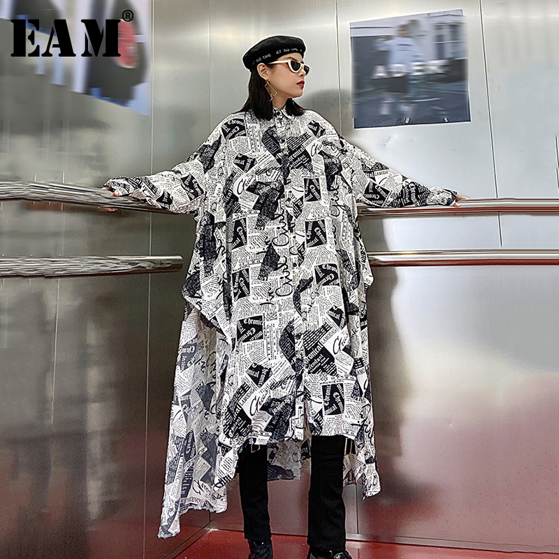 [EAM] Women White Brief Long Big Size Asymmetrical Blouse New Lapel Long Sleeve Loose Fit Shirt Fashion Spring Autumn 2020 1R106