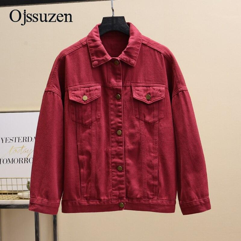 Бордовое красное пальто, Весенняя Базовая куртка, джинсовая женская Свободная Корейская женская куртка, осенняя Женская куртка, джинсовая ...