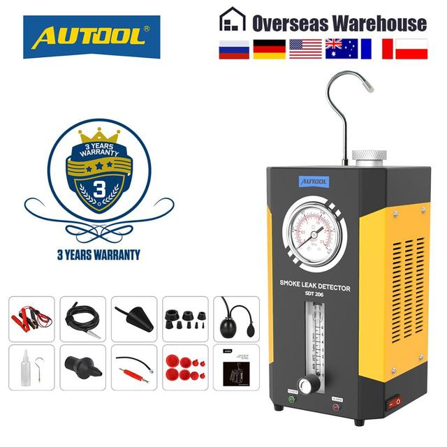 AUTOOL SDT202 SDT206 Car Automotive Smoke Machine Pipe Smog Generator Leak Detect Leakage Detector Diagnostic 12V Auto Repair