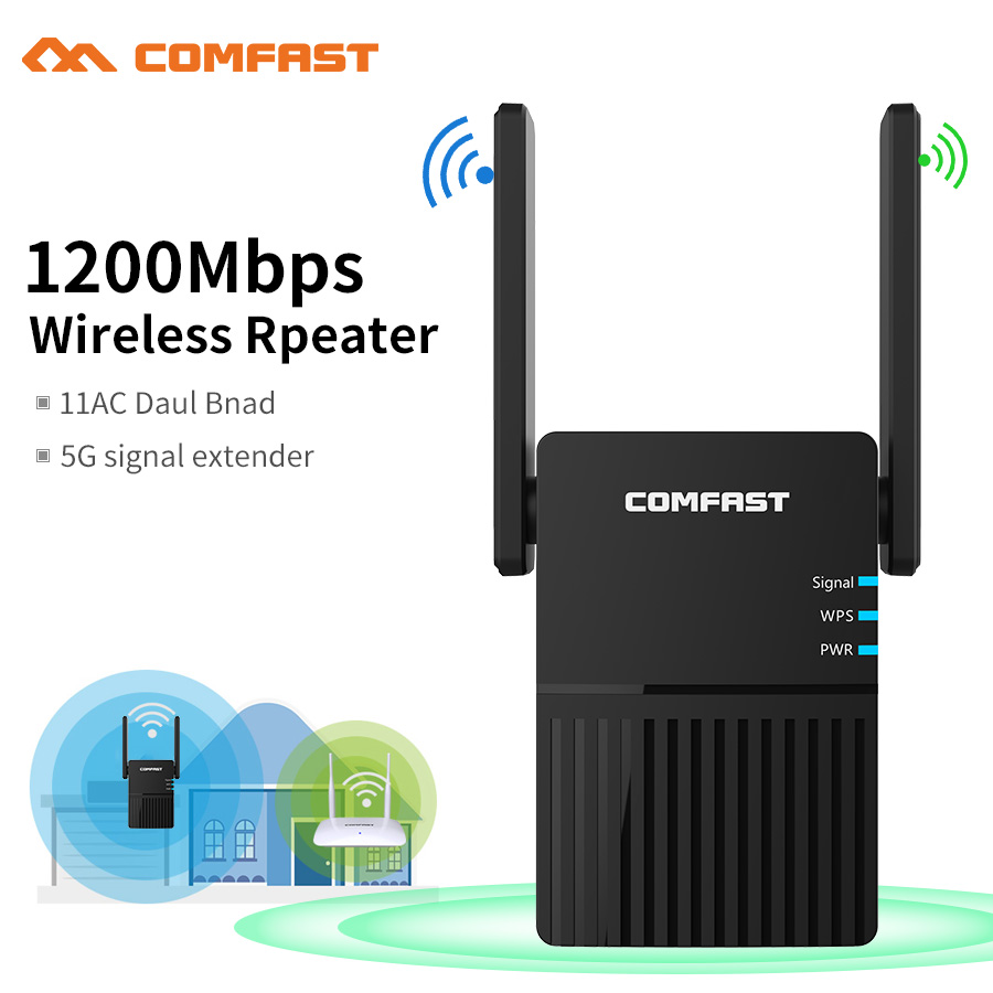 1200Mbps Comfast Dual Band 2 4 5 ghz Wireless Wifi Router High Power Wifi Repeater Wifi Extender Long Range Wlan Wi-fi amplifier