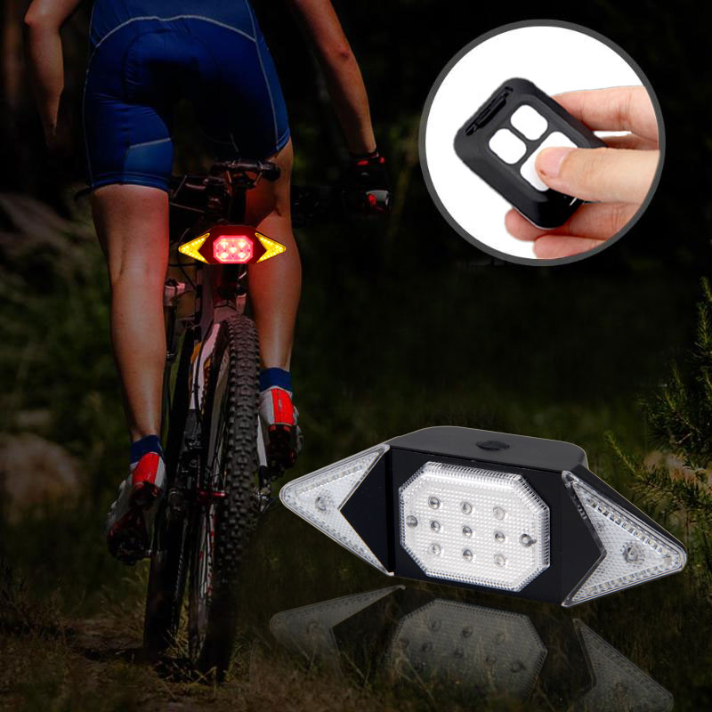 Rechargeable LED Bike Tail Light Remote Control Bicycle Direction Lamp Built-In