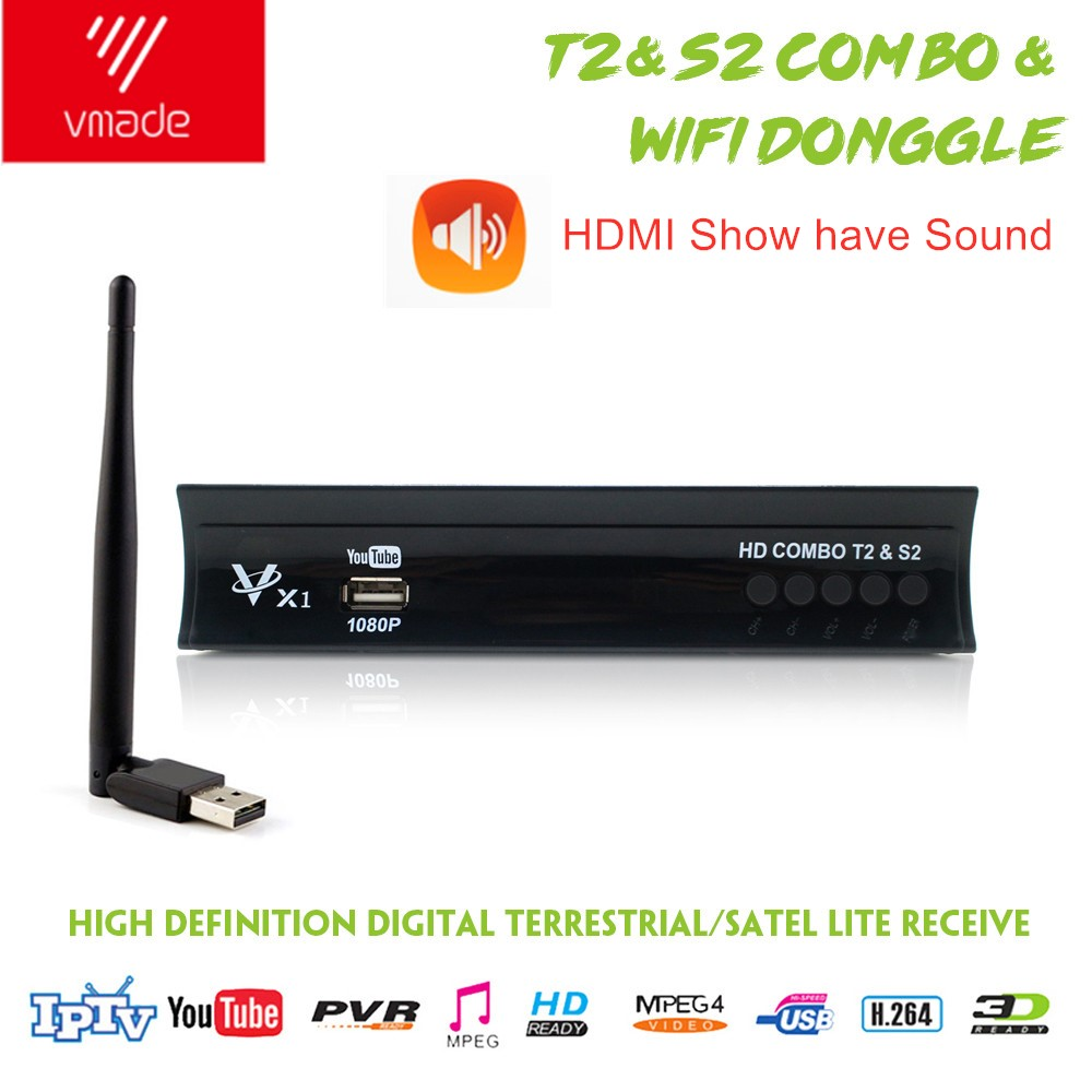 Vmade Full HD Digital DVB T2 S2 Combo Receiver Satellite Terrestrial TV Tuner H.264 MPEG-2/4 1080p Support CCCAM IPTV + WIFI