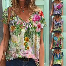 Shirt Floral-Printing Plus-Size Women Blouses Tops Tunic Summer 5xl Short-Sleeve V-Neck
