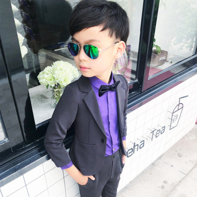 Детские костюмы для мальчиков на свадьбу из 2 предметов, Блейзер, брюки Детский костюм для мальчиков, праздничная одежда для мальчиков-подростков смокинги, Школьный костюм - Цвет: Dark Gray
