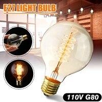 Bombilla incandescente de 80mm x 118mm E27 G80 60W bombilla de luz de Edison Retro globo 110V Color blanco cálido