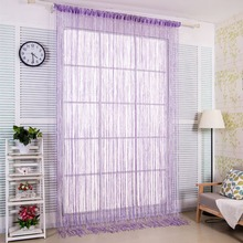 Hot 1PC 2m x1m Window Panel Curtain Silver Leather Line String Curtains Door  Divider Yarn Strip Tassel Drape