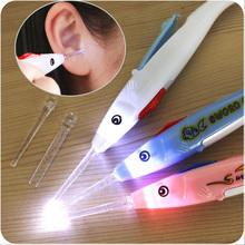 1Pc 2 sztuk latarka LED Light Dig Ear-do usuwania woskowiny Remover pick Earpick Clean pinceta Earpick wosku z uszu Pick narzędzie do usuwania tanie tanio CN (pochodzenie) 7-9 miesięcy 10-12 miesięcy 13-18 miesięcy 19-24 miesięcy 2 lat w górę Silikon Baby Light Ear spoon