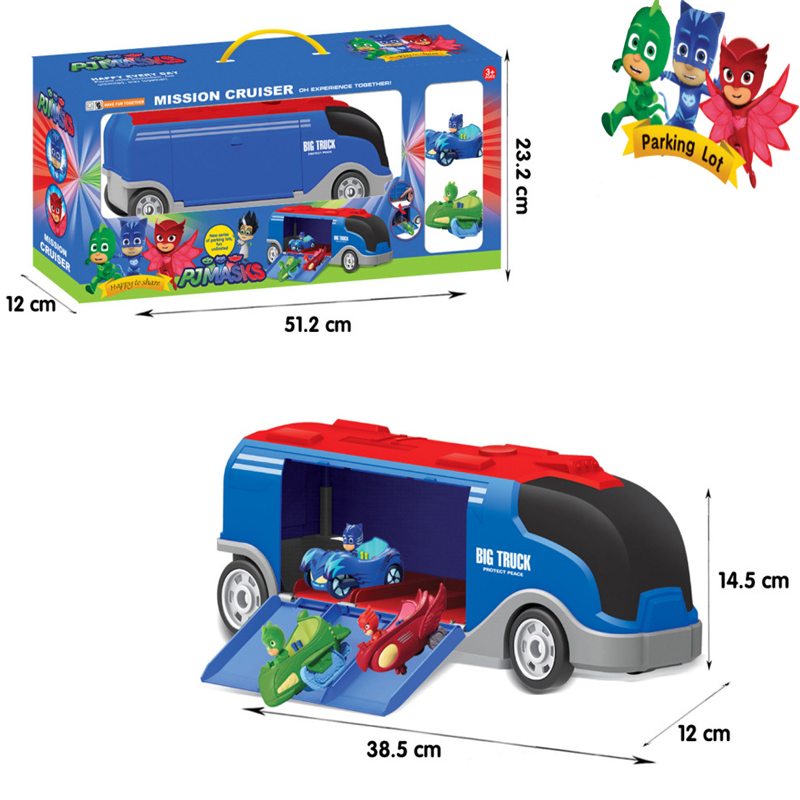 PJ MASK Juguete Catboy Owlette Gekko Bus Parking Lot  Toy Rail Car Plastic Anime PJ Masks Figures Toys For Children Gifts S66