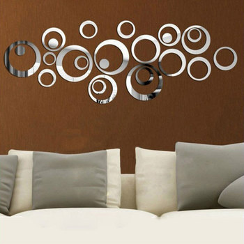 24PCS 3D Mirror Acrylic Wall Stickers Creative Circle Ring Bedroom Decors for Family Decoration Adhesive Vinyl Home Decal 9