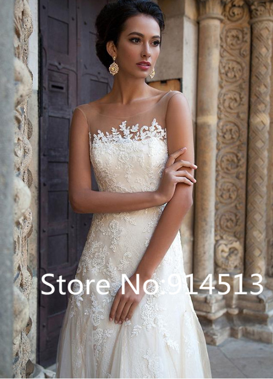 Image 3 - Elegant A Line Tulle Bateau Neckline Wedding Dresses with Lace Appliques Backless Wedding Gowns Custom made Vestido De Novia-in Wedding Dresses from Weddings & Events