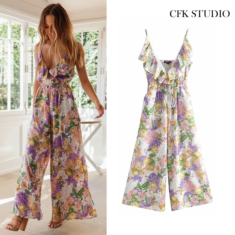 Jumpsuit For Women 2020 With V-neck Lace Ruffle Floral Print Sleeveless Elastic Waist Jumpsuit Femme Bohe Holidy Beach Jumpsuit