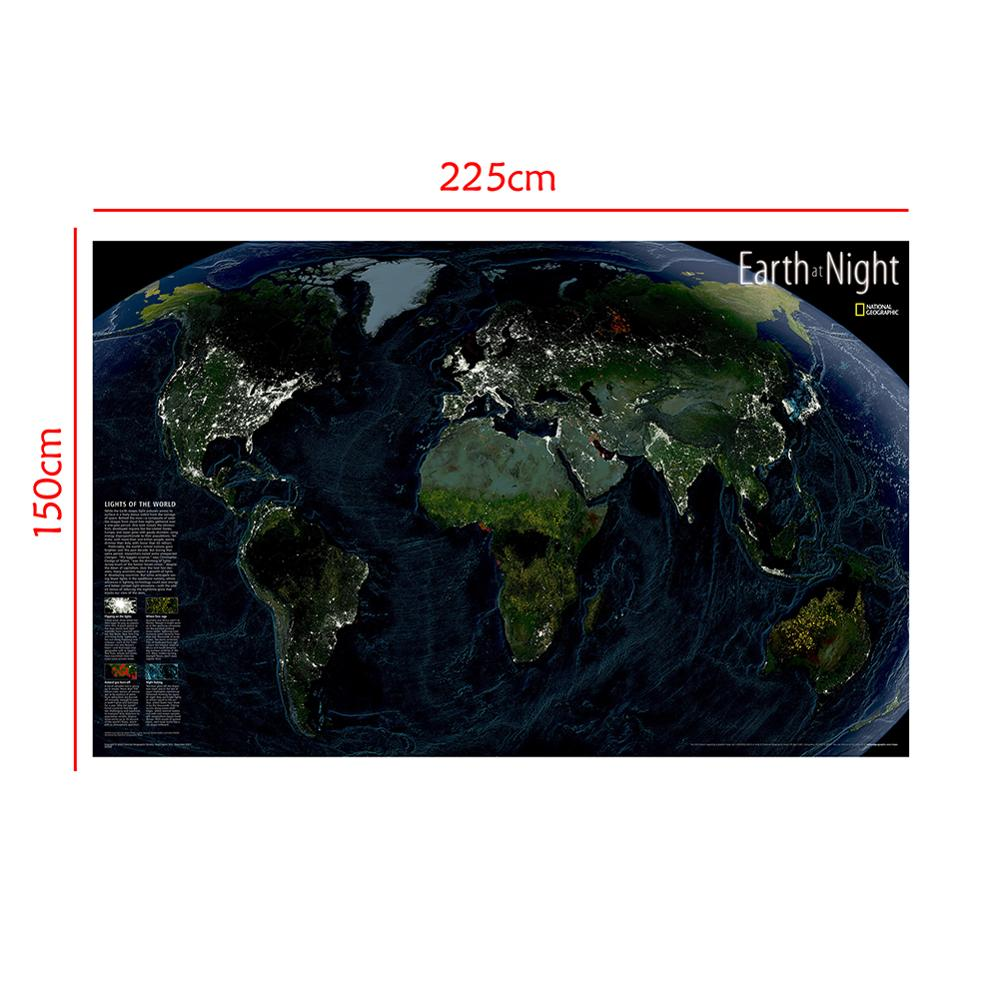 Satellite Map Earth At Night 150x225cm Non-woven Waterproof World Map World Map The Night Of The World