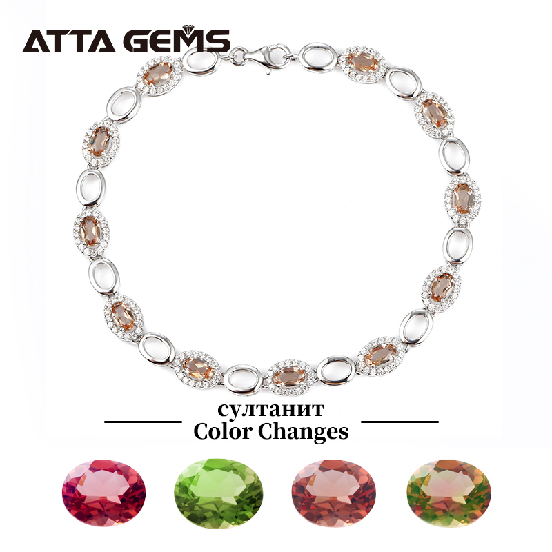 Diaspore Sterling Silver Women Bracelet  For Party Birthday Gifts Color Change Stone Fine Jewelry Top Quality Created Zultanite